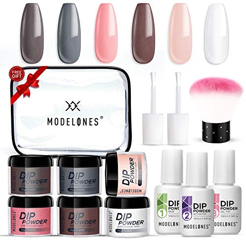 Dipping Powder Nail Starter Kit Nude Gray 6 Colors,Dip Powder System Starter Nail Kit Acrylic Dipping System for French Nail Manicure Nail Art Set Essential Kit,Portable Kit for Travel