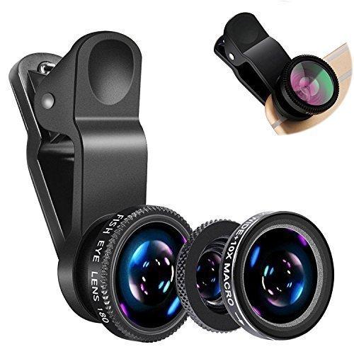 GETDL iPhone Camera Lens Kit, 3in1 Wide Angle Macro Fisheye Lens Camera Mobile Phone Lenses Fish Eye Lentes For Smartphone Accessories