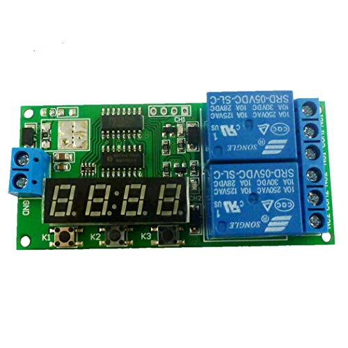 Eletechsup DC 5V 2 Channel 9 Function Delay Timer Relay Module Controller Motor Reverse Cycle Loop Timers Interlock Latch Switch Board ()