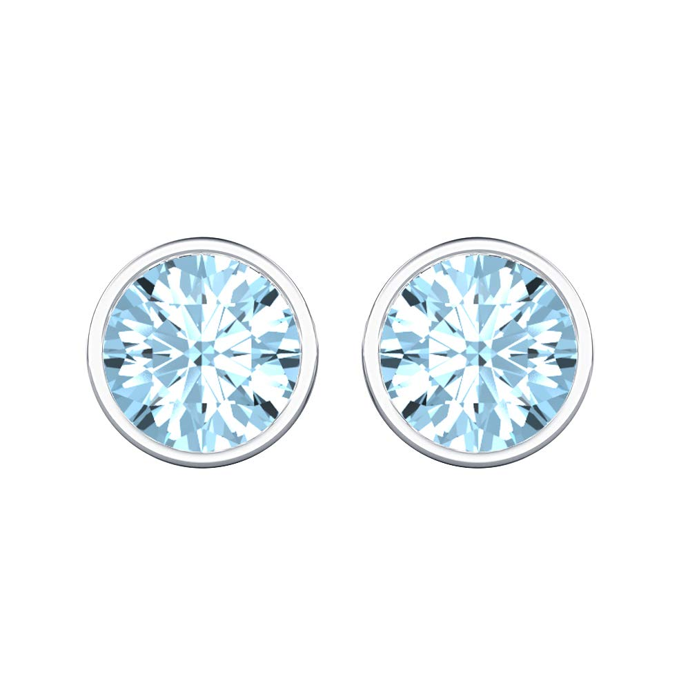 4MM Solitaire Stud Earrings 14K White Gold Over .925 Sterling Silver For Womens tusakha Bezel Set Round Cut Created Gemstones