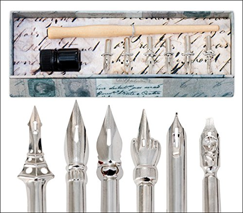 Quill Lines Vintage Drawing 6 Nibs Pen Set by Creative Mark