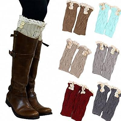 6 Pack Women Crochet Knitted Button Lace Trim Boot Cuffs Leg Warmer Socks