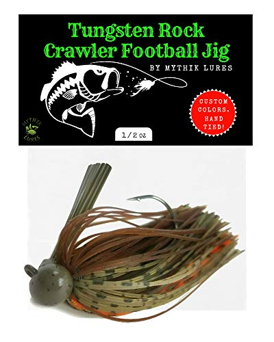Rock Crawler Tungsten Football Jig - Weedless Lure Used for Bass, Pike, Walleye, Striped Bass Fishing - Ponds Lakes Freshwater or Ocean - 1/2 3/4 1 Ounce - (Mythik Craw, 1/2 oz)