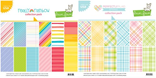 Lawn Fawn - 12 x 12 Paper Collection Packs - Perfectly Plaid Spring and Really Rainbow - 2 Double-Sided Sets (Collection 12x12 Double Sided Paper)