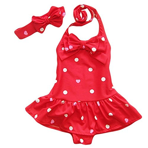Jastore® Baby Girls Swimwear One Piece Swimsuits Beach Wear with Headband (2-3 Years, Red)