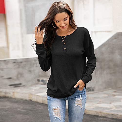 ASTANFY Womens Buttons Pullover Tunic Tops Long Sleeve Casual O Neck Fall Cotton Sweatshirt Solid Color