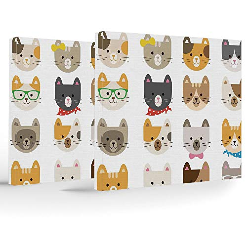 Framed Wall Art,Kids,Each panel has hook already mounted on the wooden bar for easy hanging,Cats Costume with Glasses Bow Tie Bandanna Cartoon Art Craft Pattern Print Pets Animal Lovers Print -