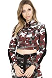 TwiinSisters Women's Basic Classic Casual Destroyed Button Down Denim Jacket - Size Small to 3X (X-Large, Maroon/Black #Rjk2068)