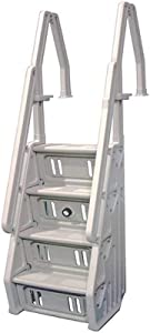 Vinyl Works Deluxe Adjustable in Step Above Ground Pool Ladder, White