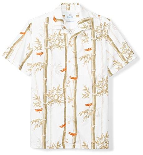 Bamboo Mens Aloha Shirt - 28 Palms Men's Standard-Fit 100% Cotton Hawaiian Shirt, White Bamboo, X-Large