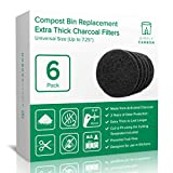 2 Years Supply Extra Thick Universal Size Activated Charcoal Kitchen Compost Bin Filters - Fits ALL Compost Bins up to 7.25' Filter Size - Replacement Odor Filters Set of 6 (by Simply Carbon)