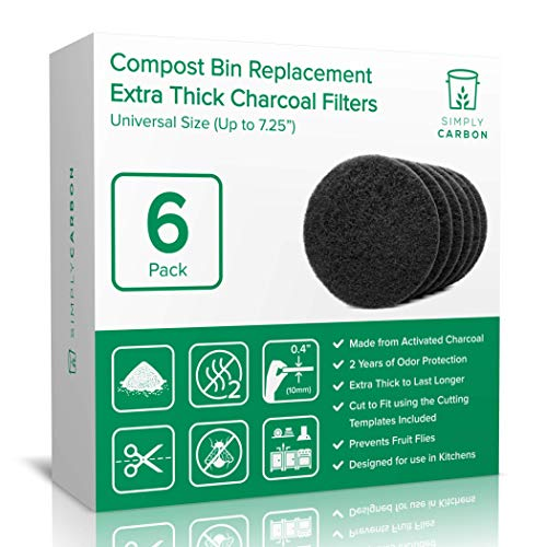 """2 Years Supply Extra Thick Universal Size Activated Charcoal Kitchen Compost Bin Filters - Fits ALL Compost Bins up to 7.25"""" Filter Size - Replacement Odor Filters Set of 6 (by Simply Carbon) ()"""