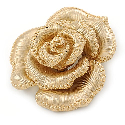 Avalaya Dimensional Rose Brooch In Brushed Gold Finish - 55mm Across Ar8oa