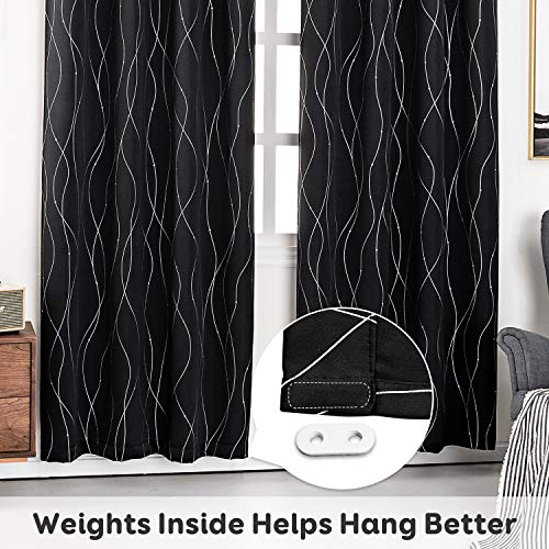 Anjee Eyelet Thermal Insulated Blackout Curtains and Drapes Wave Line with Dots Printed for bedroom living room Children's room Two Matching Tie Backs 46 x 72 inch Black