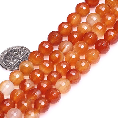 Red Carnelian Beads for Jewelry Making Natural Gemstone Semi Precious 8mm Round Faceted 15