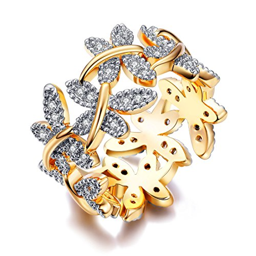 NEWBARK 10 Butterflies 18k Yellow Gold Plated Cubic Zircon Women's Rings Size (Butterfly Pave Ring)