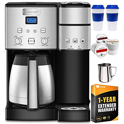 Cuisinart SS-20 Coffee Center 10-Cup Thermal Single-Serve Brewer Coffeemaker Silver (SS-20) with Stainless Steel Milk Frothing Pitcher, Reusable to Go Mug, 3 K-Cups & 1 Year Extended Warranty