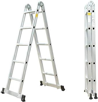 Escalera De Extensión De Aluminio 2 En 1, Escalera Con Peldaños Multiusos Con Pies Antideslizantes, Clasificación De Trabajo De 300 Lb, 3 M: Amazon.es: Bricolaje y herramientas