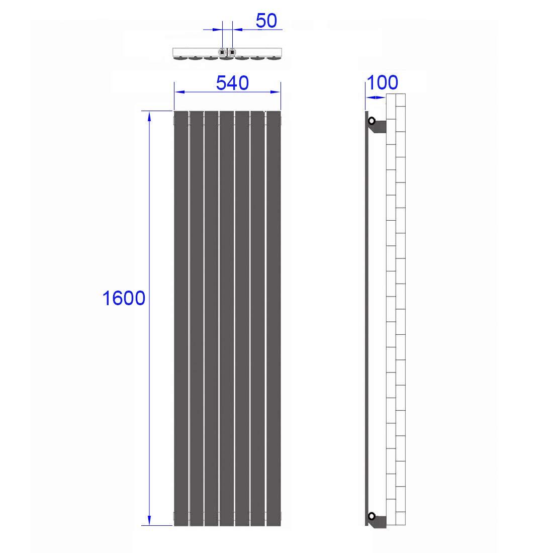 Heizk/örper Design-Heizk/örper Ovale Form Wei/ß Vertikal 1800x600mm Heizung 2268W Mittelanschluss Doppellagig
