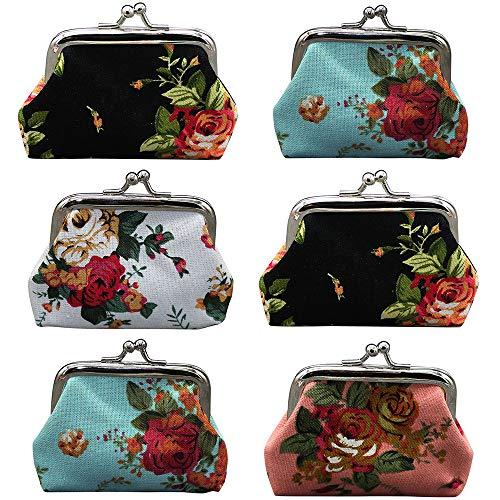 Aspire 1 Dozen Canvas Floral Coin Purses, Assorted Color Clutch Pouch Wallet