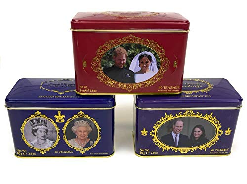 (British Royal Family 3 Commemorative Breakfast Tea Tin Set! Duke & Duchess of Cambridge and Sussex, Queen Elizabeth II of Great Britain! Drink Tea with the Royal Family!)