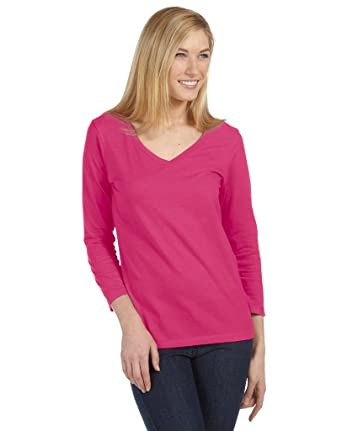 f2e55eea59d4fb Bella + Canvas 6425 Ladies 4.2 oz. Missy 3/4-Sleeve V-Neck Jersey T-Shirt at  Amazon Women's Clothing store: