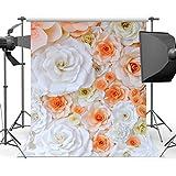 Mehofoto Orange White Flower Backdrop Floral Wall Photography Background 5x7ft Wedding Bridal Shower Backdrops for Photo Studio Props