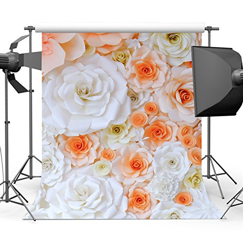 Mehofoto Orange White Flower Backdrop Floral Wall Photography Background 5x7ft Wedding Bridal Shower Backdrops for Photo Studio Props