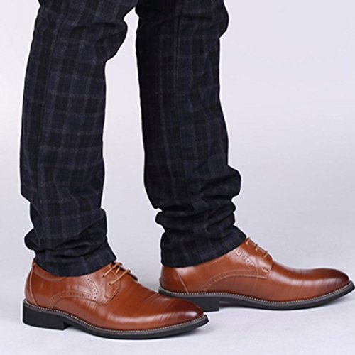 HLHN Men Leather Shoes, Pointed Toe Flat Lace up Uniform Dress Shoes Business Classical Casual Loafers Oxfords Brown