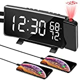 Best Projection Clocks - PEMOTech Projection Alarm Clock,7'' Led Curved-Screen,3-Level Dimmer,Dual Alarm,Snooze,Temperature Review