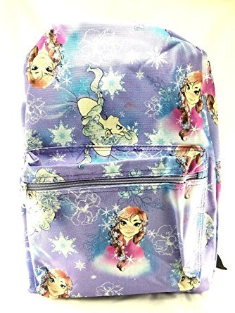 "Disney Frozen Lavender Allover Print 16"" Girls Large Backpack"
