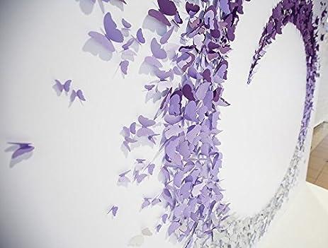 188PCS 3d butterflies wall art Metallic shimmer White gold Shaded Effect Ombré Effect DIY Wall Sticker  sc 1 st  Amazon.com & Amazon.com: 188PCS 3d butterflies wall art Metallic shimmer White ...