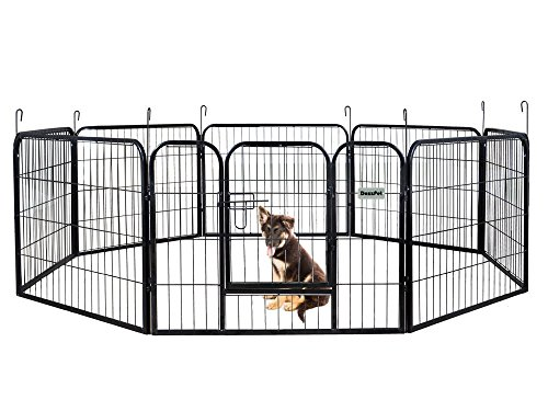 DazzPet Dog Puppy Large Playpen Metal Fence with Door | Heavy Duty Pet Pen Outside Exercise RV Play Yard | Outdoor Indoor Courtyard Kennel Crate Enclosures | 24
