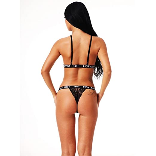 bfc5345cc6 XILALU Women Floral Lace Sexy Lingerie Corset Bustier Bralette Bandage  Letter Printed G-String Bra+Pants Set Underwear at Amazon Women s Clothing  store