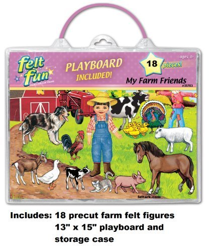 (Little Folk Visuals Felt Fun: My Farm Friends Precut Flannel/Felt Board Figures with 13x15 Inches Mounted Playboard, 18 Pieces Set)