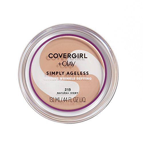 COVERGIRL & OLAY Simply Ageless Instant Wrinkle Defying Foundation, Natural Ivory, 0.4 oz (Packaging May Vary)