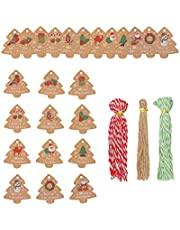 LUTER 144 Pcs Christmas Tags, Kraft Paper Vintage Labels with Many Mixed Color Twines are Suitable for Christmas Trees Presents Red Wines Bottles and Plants Labels