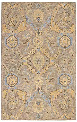 - Nourison Azura Taupe and Gold 8'x11' Area Rug