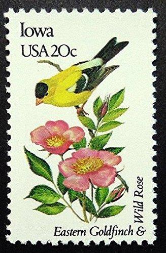 Iowa Stamps (Eastern Goldfinch & Wild Rose Iowa USA -Handmade Framed Postage Stamp Art 17376AM)