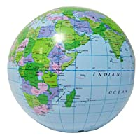 TOYMYTOY Inflatable World Globe Earth Map Educational Beach Playing Ball Toy
