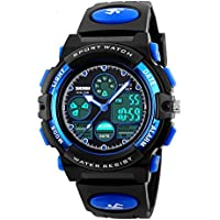 Kids Sport Outdoor Digital Unusual Analog Quartz Dual Time Zone Waterproof PU Resin Band Watch with Chronograph...