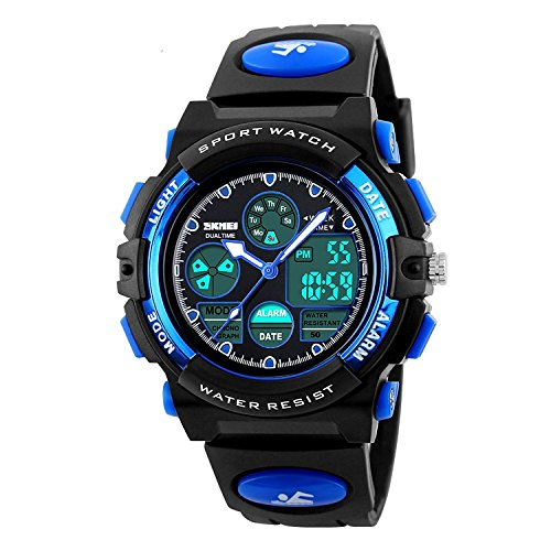 Kids Sport Outdoor Digital Unusual Analog Quartz Dual Time Zone Waterproof PU Resin Band Watch with Chronograph, Alarm, Classic Design Calendar Date Window for Boys Girls Children - Blue (Dual Time Stopwatch)