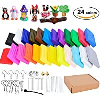 Outgeek Polymer Clay Oven Bake Clay Soft Modeling Clay Starter Kit With 14 Sculpting Tools And Jewelry Accessories For…