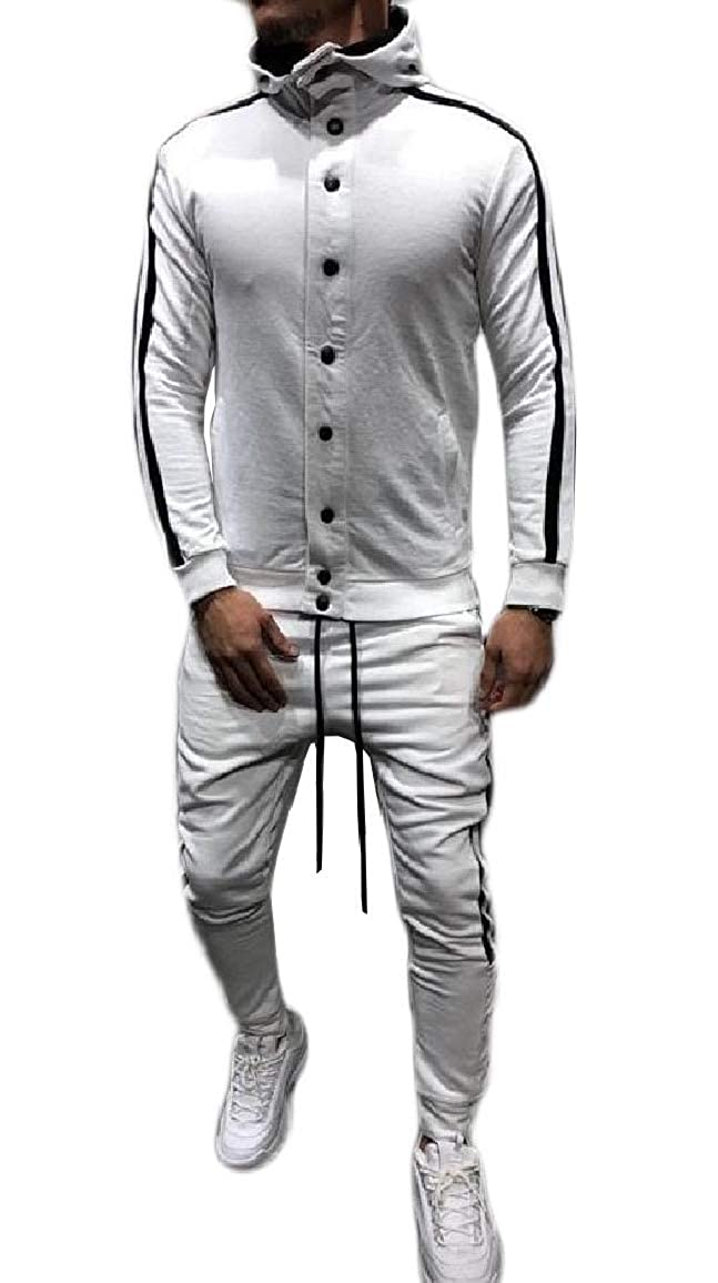 QUHSMen Pocket Slim Casual Button Strip Hood 2 Piece Fleece Sweatsuit