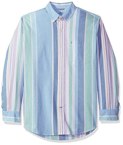 IZOD Men's Newport Long Sleeve Button Down Stripe Oxford Shirt, Little boy Blue, Medium ()