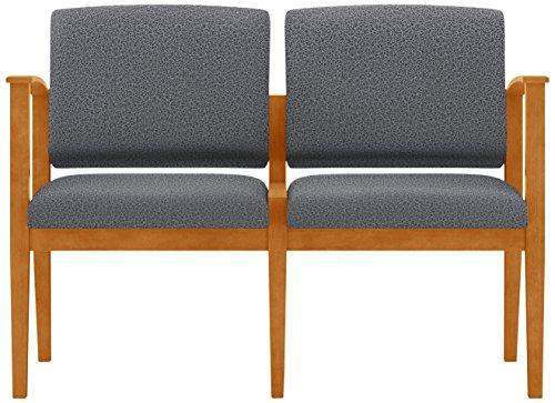 Lesro Amherst Wood 2 Seat Sofa in Medium Finish, Tendril Raven
