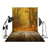 5x7ft Vinyl Autumn Fall Scene Yellow Maple Leaves Backdrops for Photography Brown Wooden Floor Photo Studio Background Autumn Decorations XT-4722