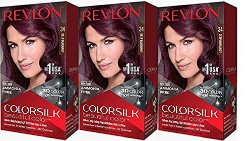 Revlon Colorsilk Beautiful Color, Deep Burgundy, 3 Count