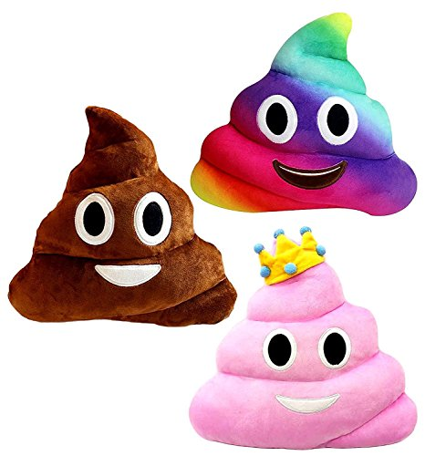 Kompanion Emoji Poop Pillows 3 Piece Set, 12 Inches/30CM, Large Plush Emoji Poop Pillow Set