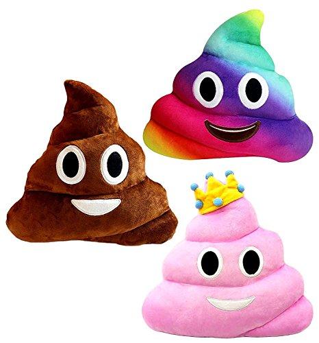 Kompanion Emoji Poop Pillows 3 Piece Set, 12 Inches / 30CM, Large Plush Emoji Poop Pillow Set -